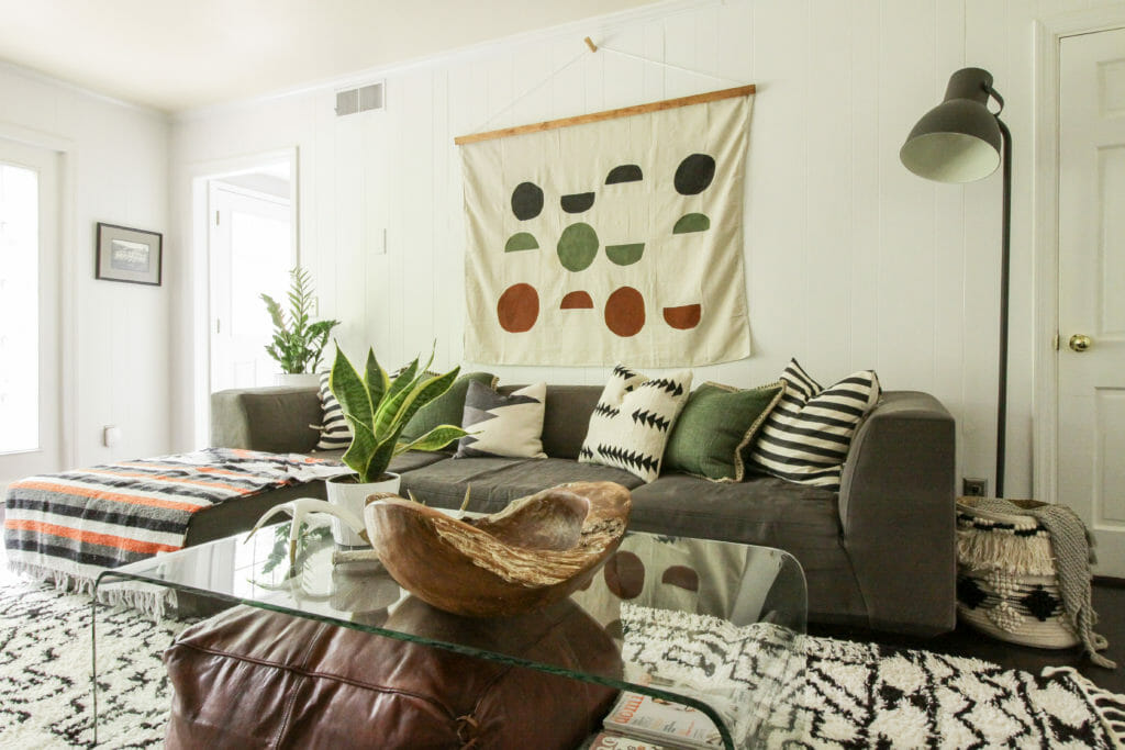 Modern Boho Family Room in green, white, gray