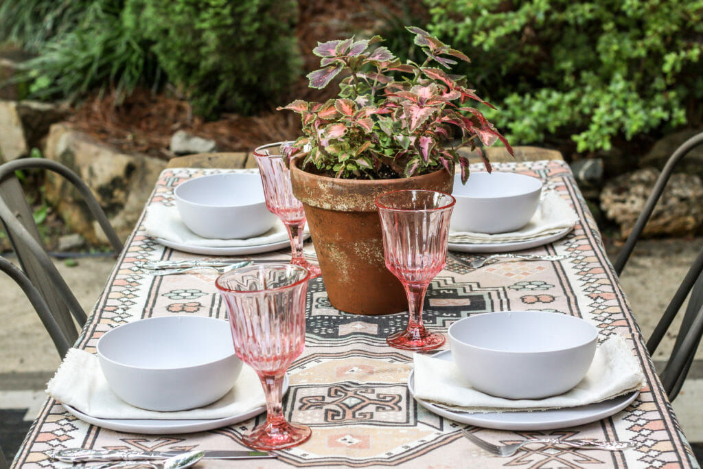 Modern boho outdoor tablescape