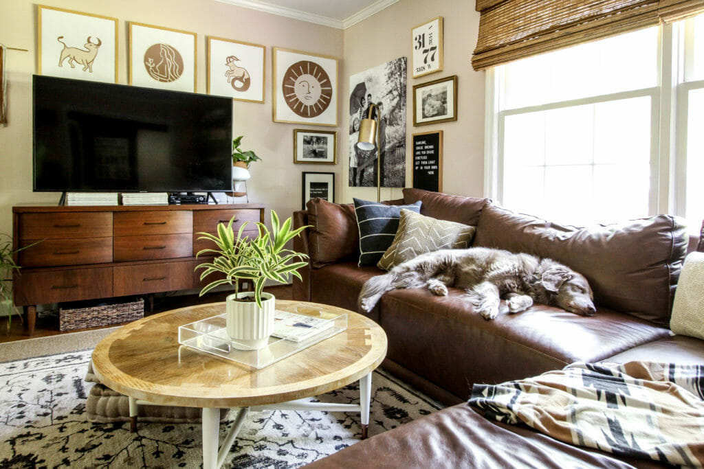 eclectic pink living room
