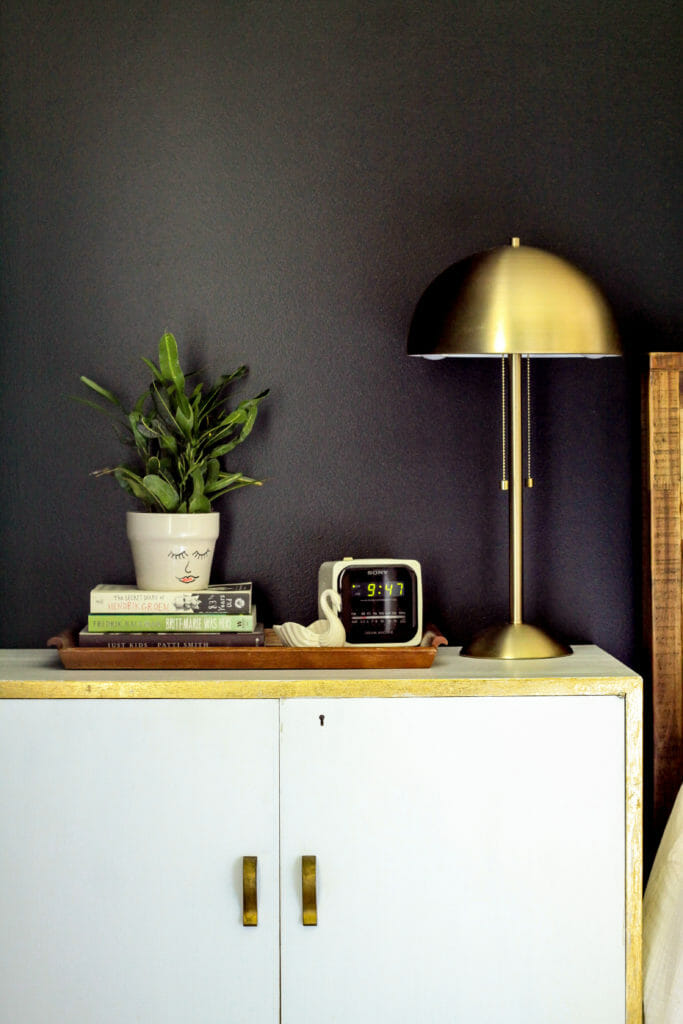 nightstand styling with tray and plant