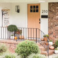 My New Front Door Color & Cheery Fall Small Front Porch Deco