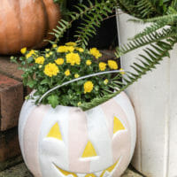 How to Paint Plastic Pumpkin Pail Planters (and a peek of my new