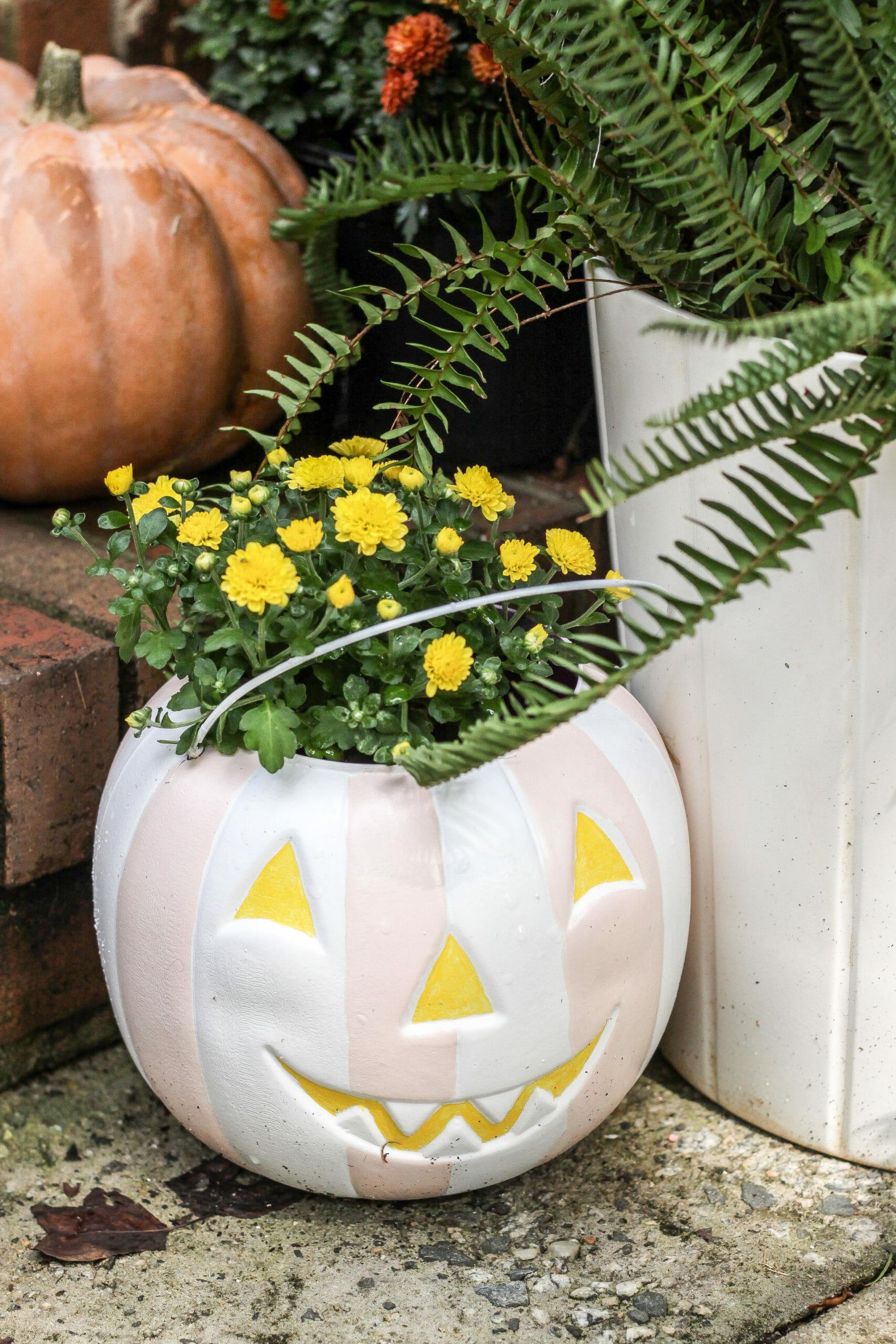 How To Paint Plastic Pumpkin Pail Planters Cassie Bustamante