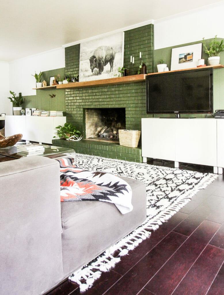 green fireplace modern boho