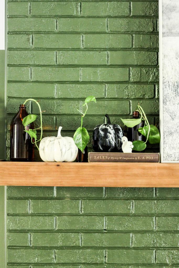 Modern rustic fall mantle in black, white, green