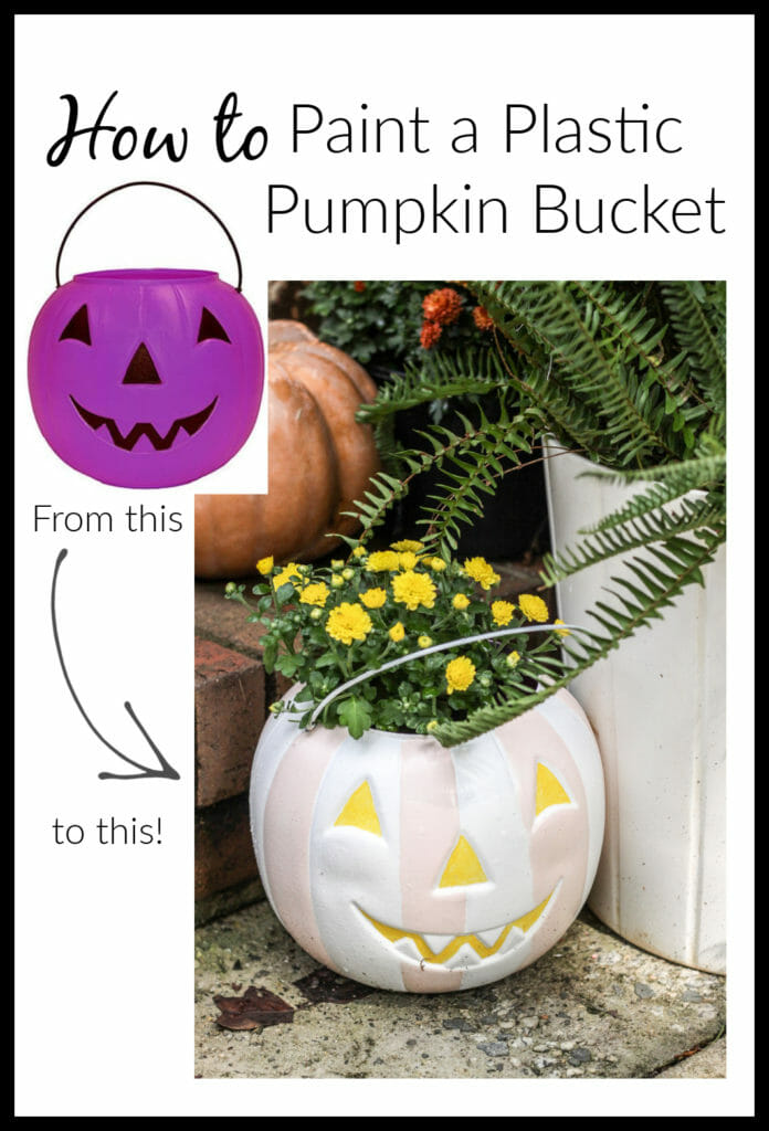 How to paint plastic pumpkin buckets before and after