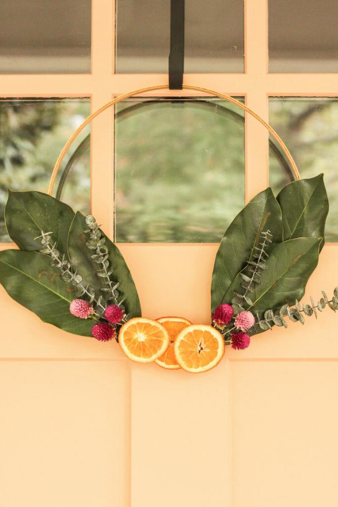 DIY Orange Slice Modern Hoop Wreath