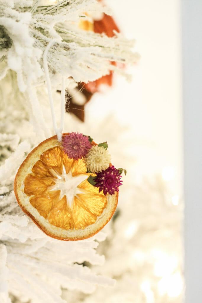 DIY orange slice and floral ornament
