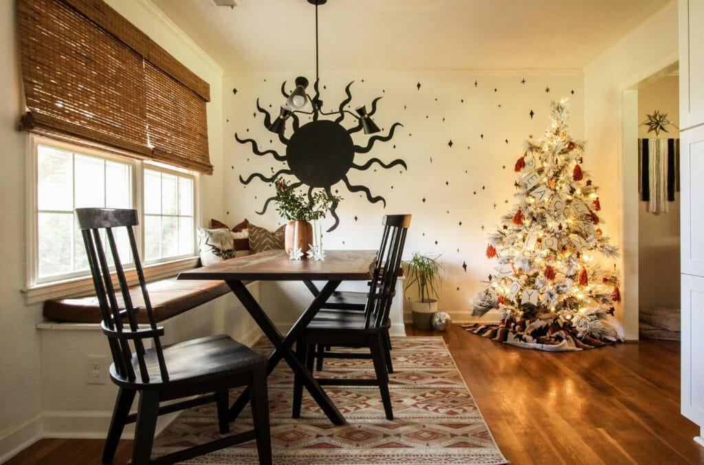 Dining room with christmas tree- modern boho