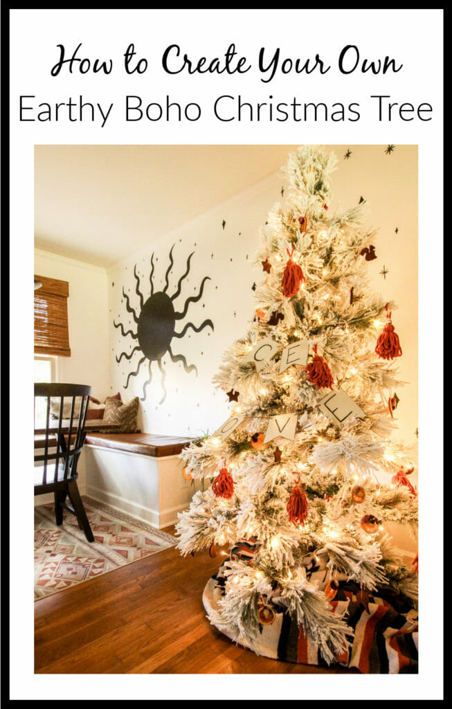 Modern Boho Flocked Tree with DIY Ornaments