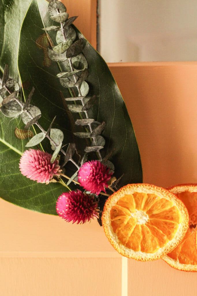 DIY orange slice hoop wreath