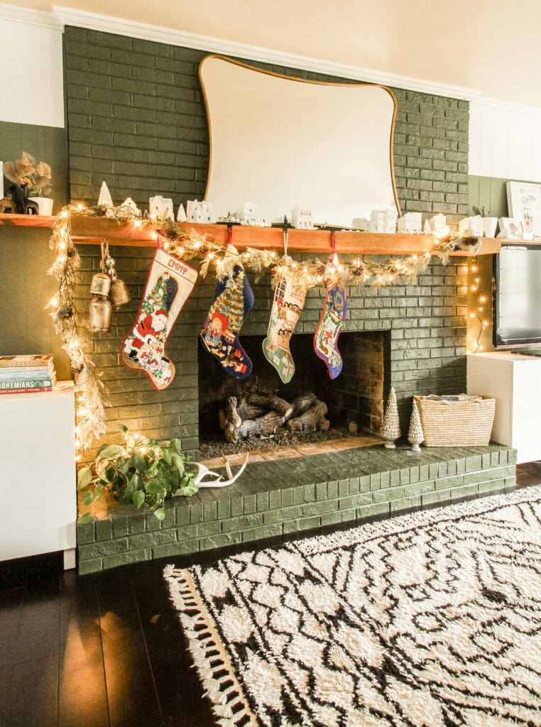 modern boho christmas mantel green