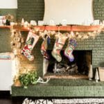 green, wood, white christmas mantel