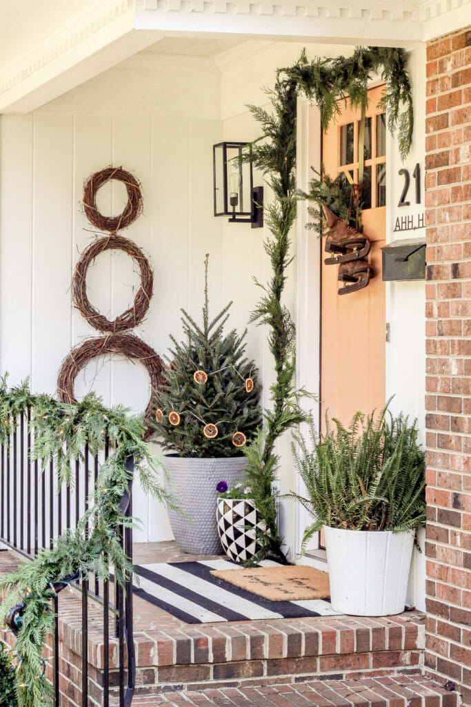 simple natural christmas porch