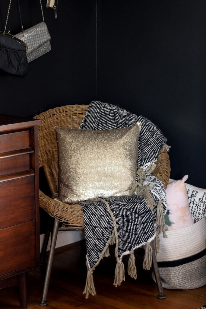 gold sequin chair