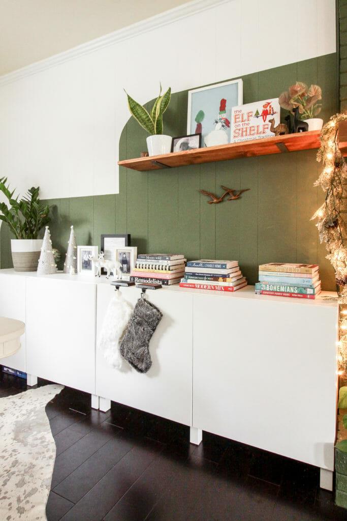 Ikea Besta at Christmas & color block wall