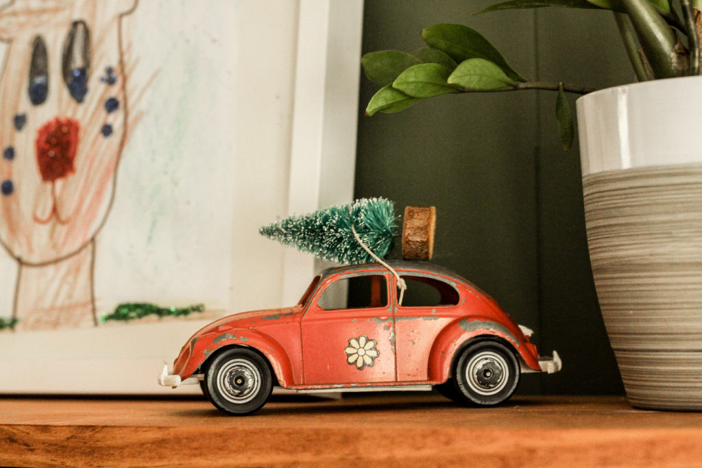 vintage toy vw with christmas tree