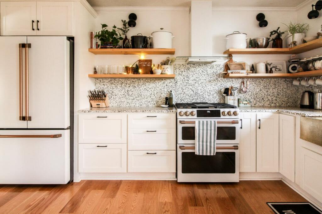 bright white modern kitchen at christmas