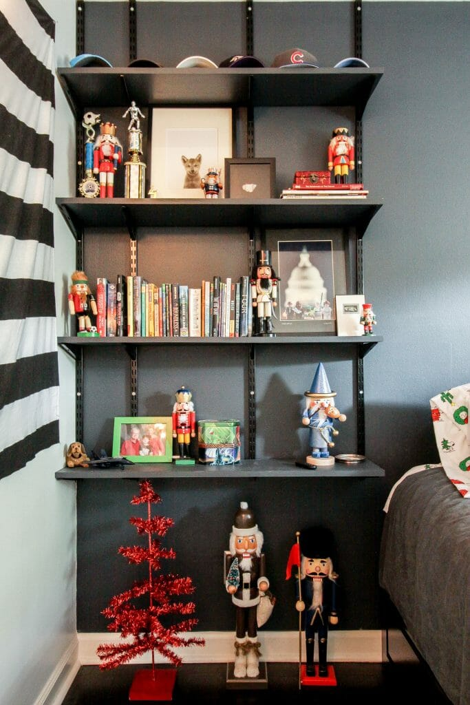 teen boy bedroom christmas shelves