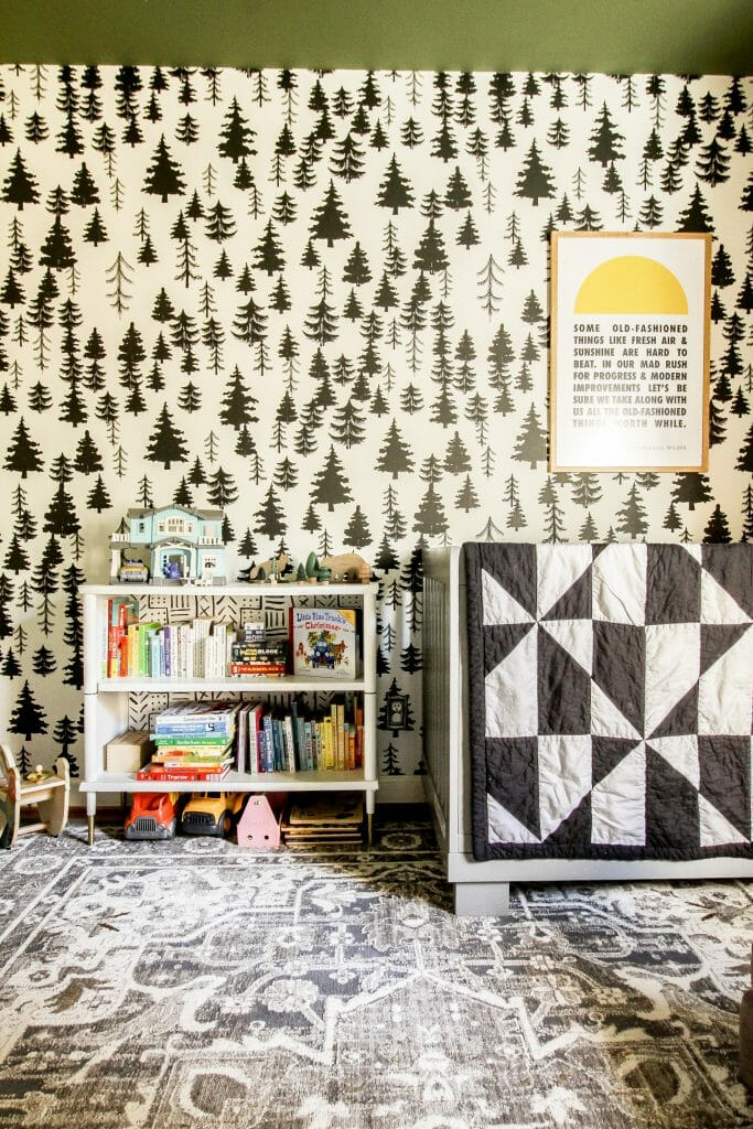 toddler bedroom with bookcase- black white green