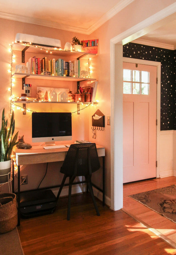 living room office nook christmas