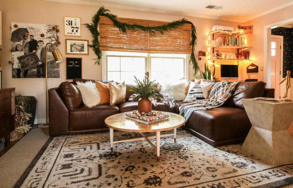 boho modern christmas living room