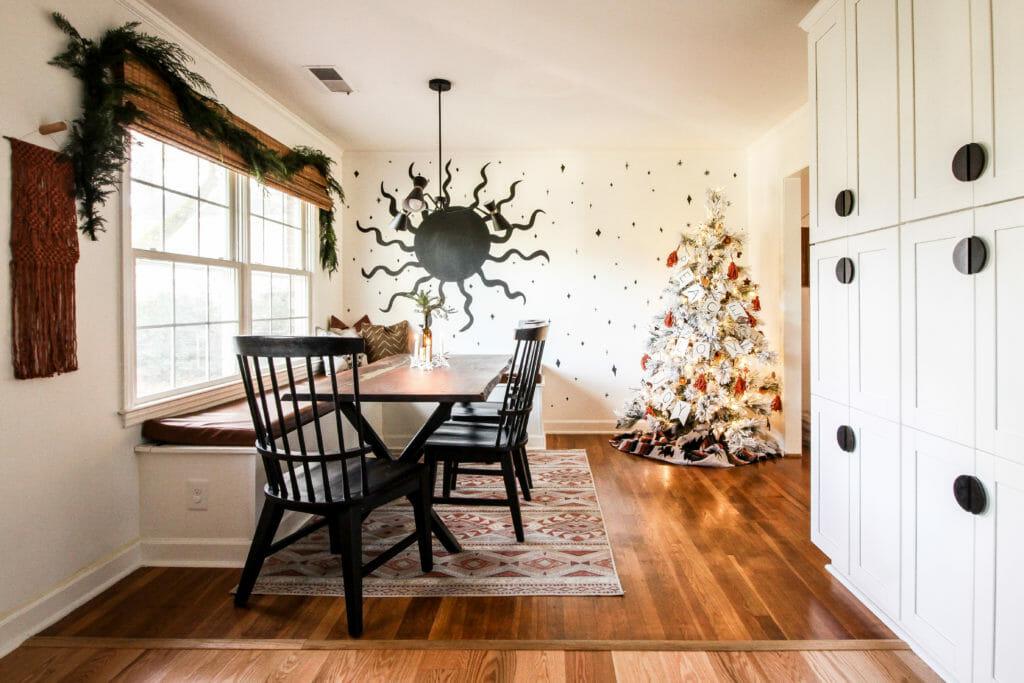 modern boho christmas dining room