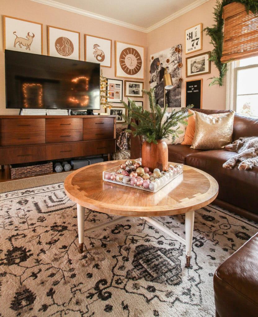 cozy small living room christmas