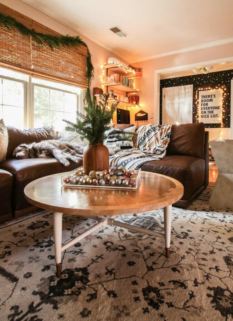 corner office in living room- christmas decor