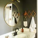 earthy boho modern gray bathroom