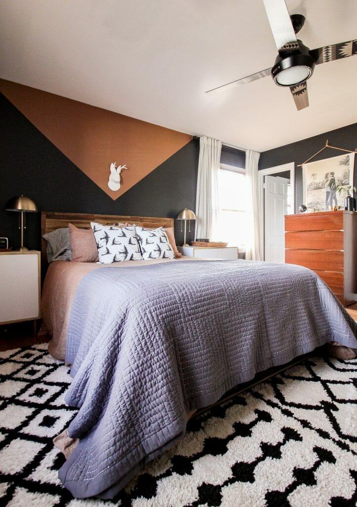 modern boho black bedroom