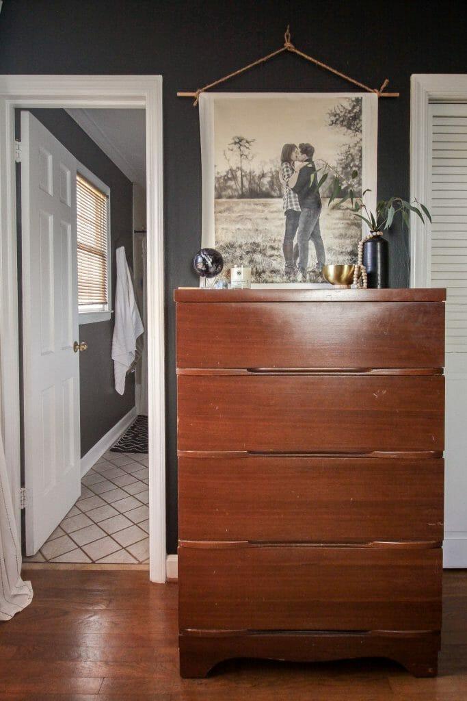 vintage dresser with spring styling