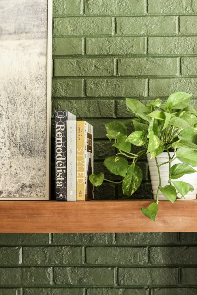 minimal mantel with books and plants