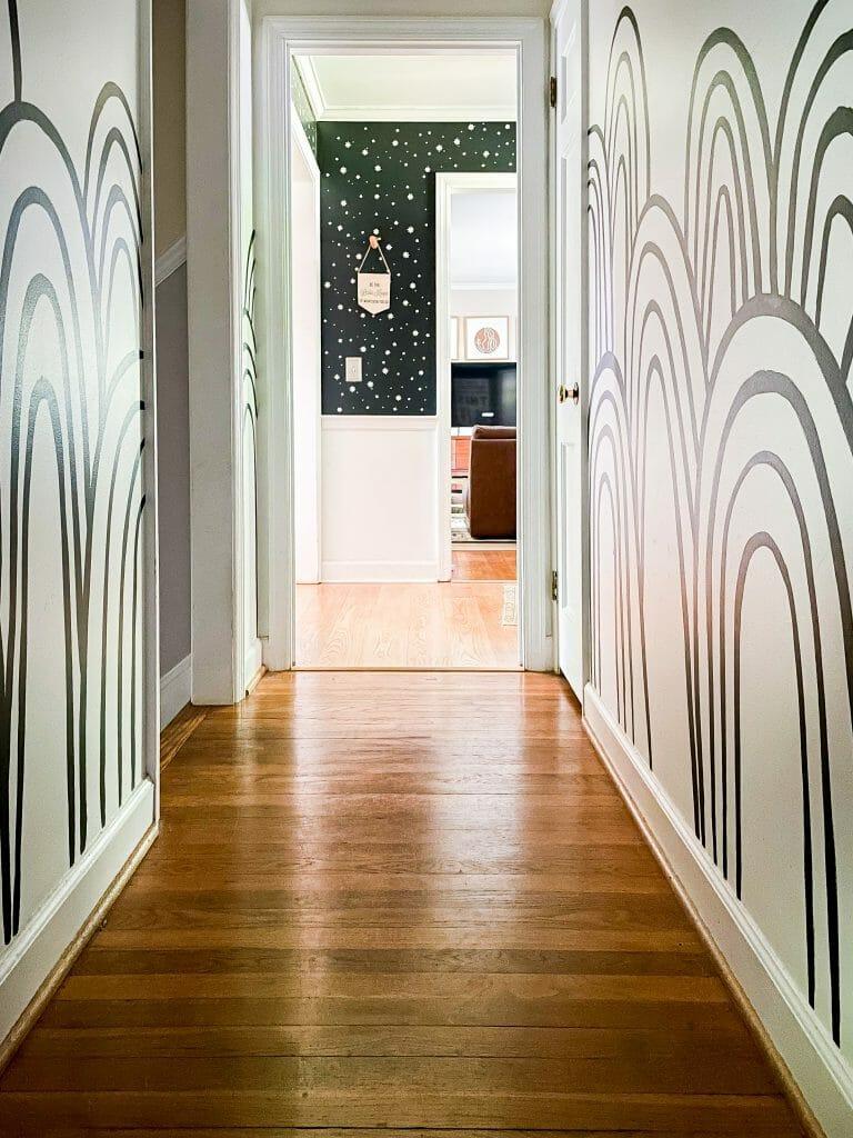 rainbow mural hallway