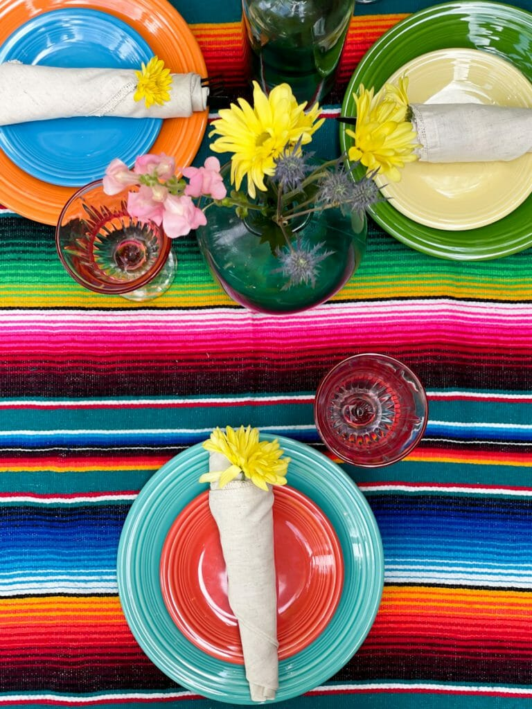 colorful floral tablescape