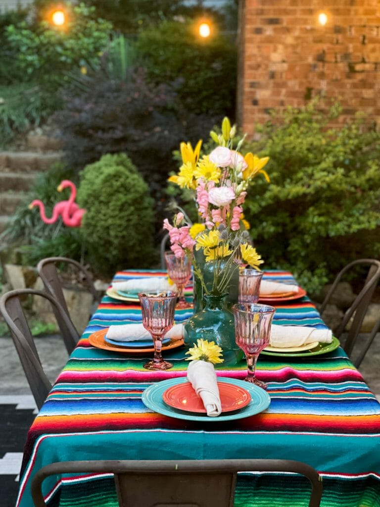 evening patio with colorful tablescape