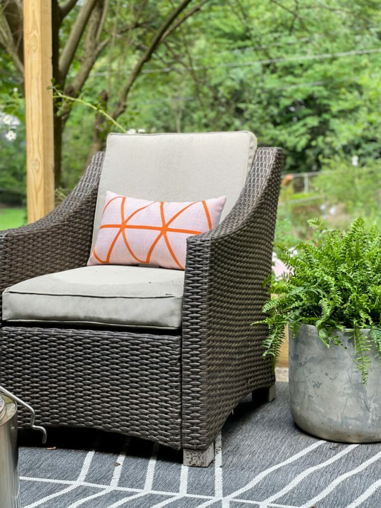 outdoor chair with pillow