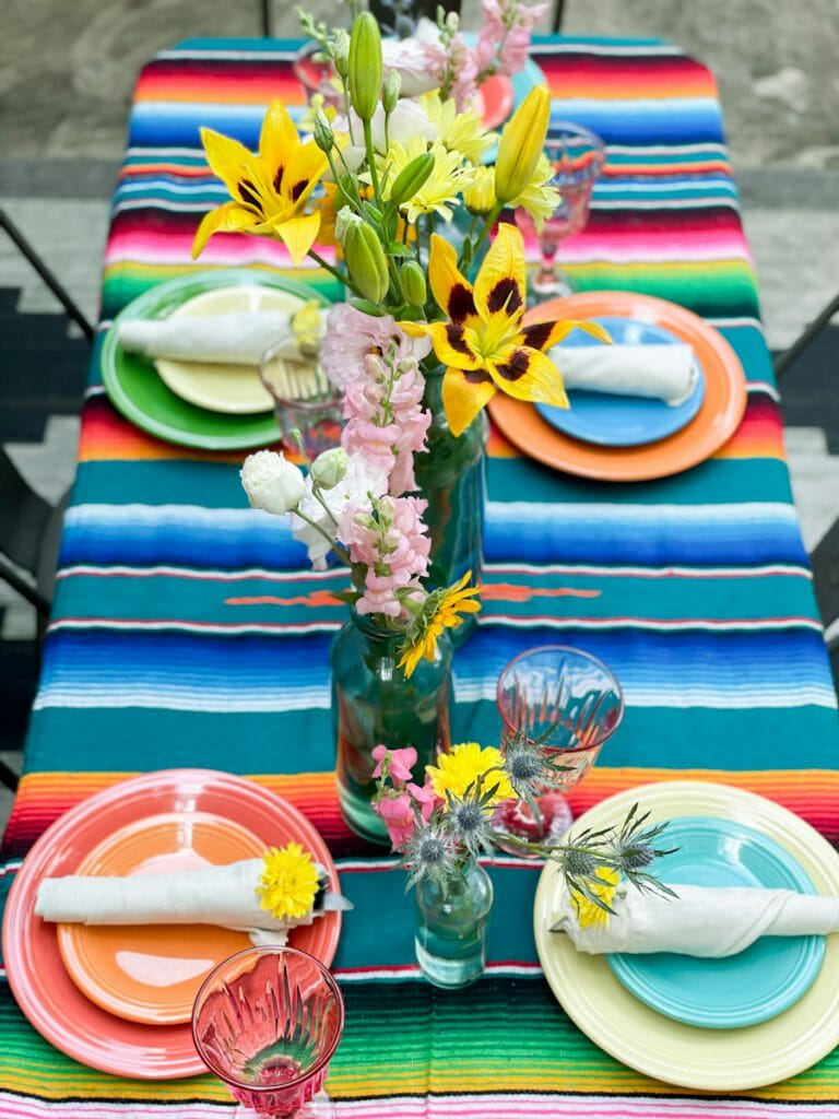 colorful patio dining