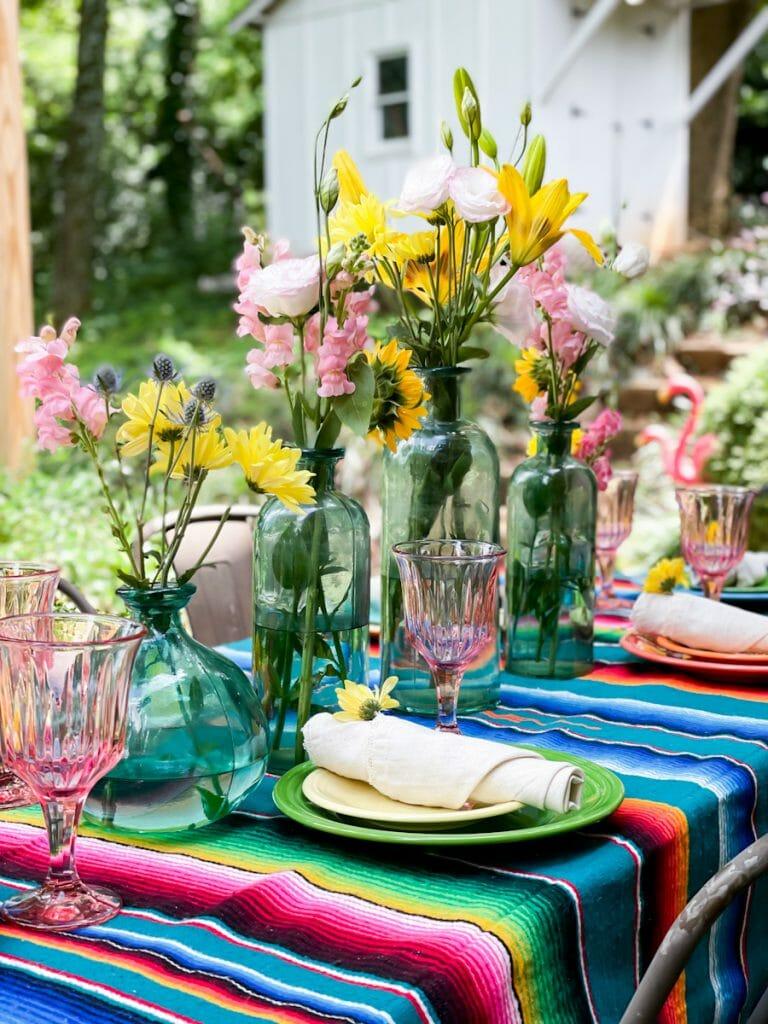 colorful tablescape outside