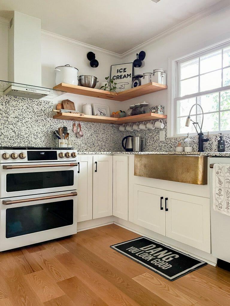 black white gold modern kitchen