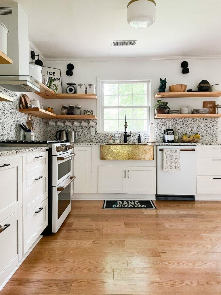 kitchen with brass sink