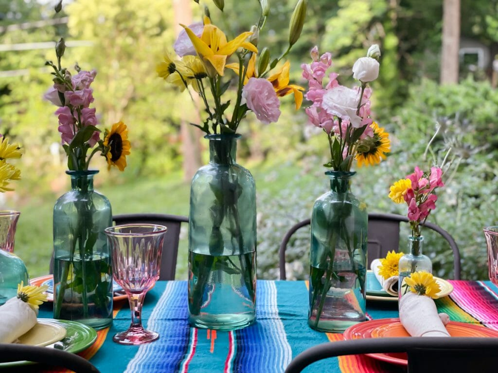 Summer florals on table