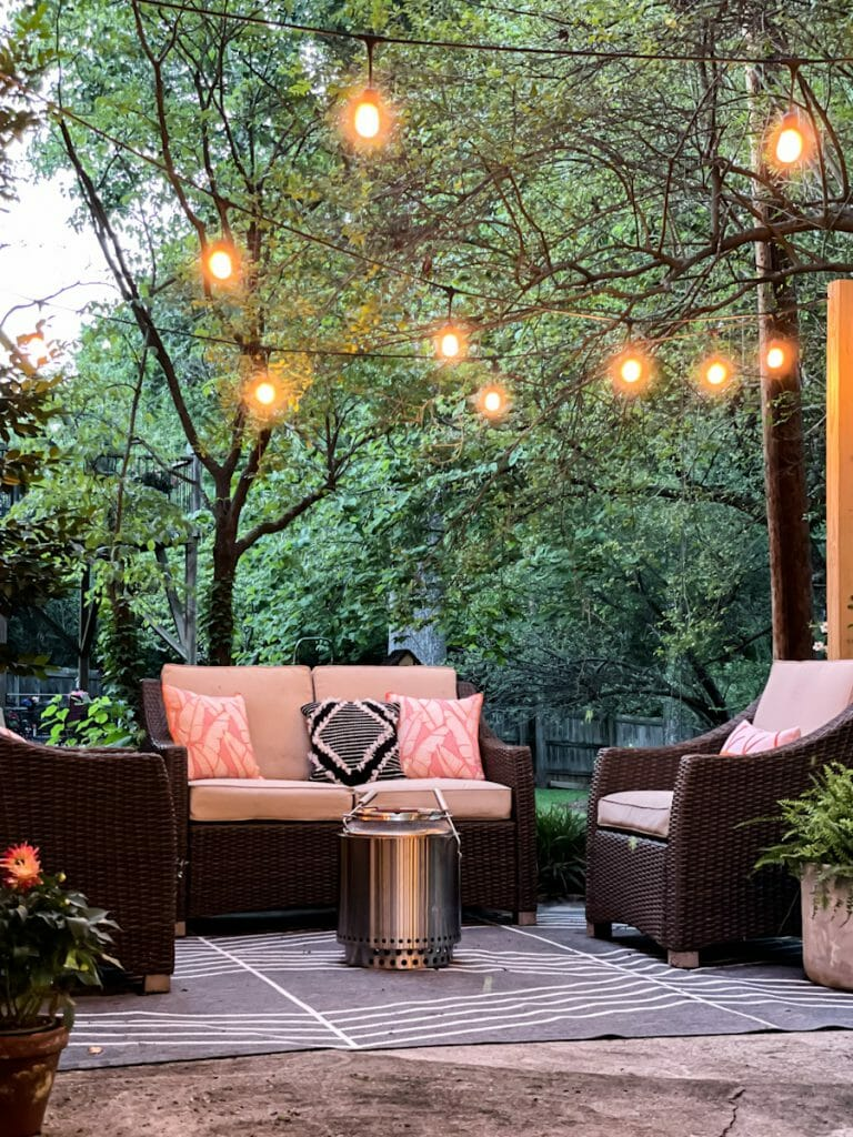 evening patio with lights