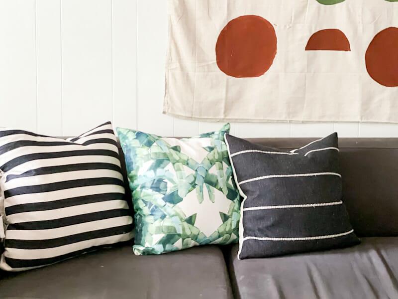 black white green pillows
