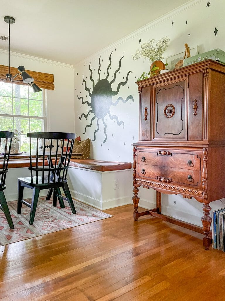 vintage cabinet in dining room