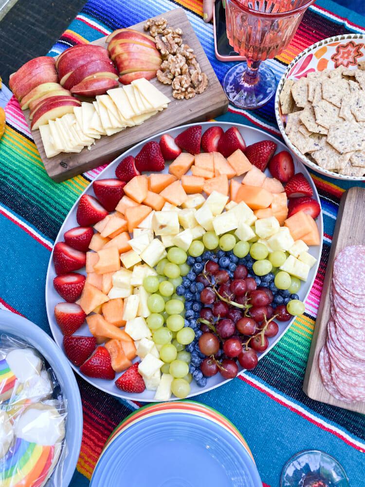 adorable rainbow fruit tray