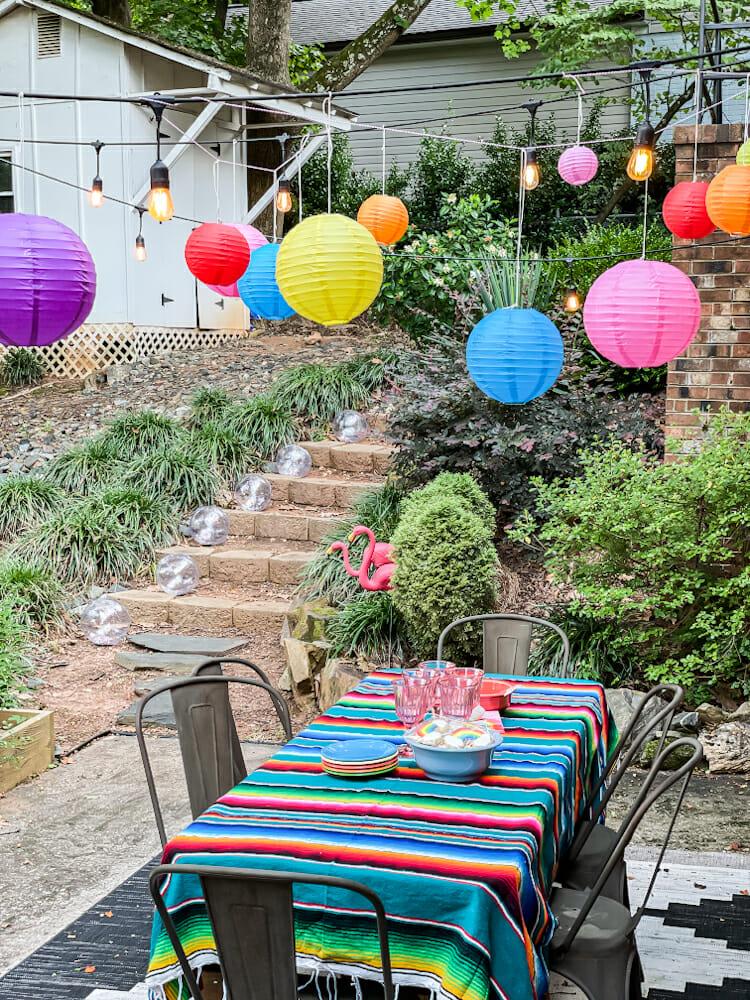 rainbow party paper lanterns