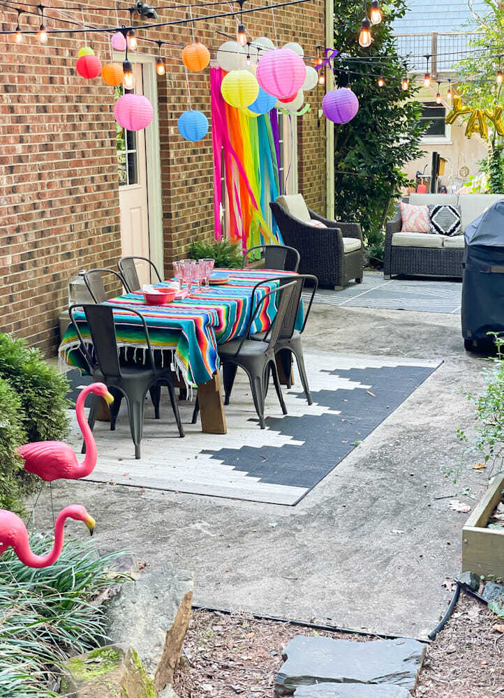 rainbow patio party